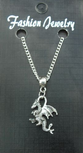 "18"" 24"" Inch Fine Necklace & 3D Winged Dragon Charm Pendant Gift Souvenir - New"
